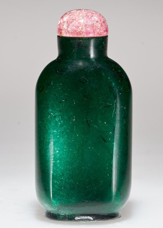 pink glass top; emerald green glass, imitating mineral