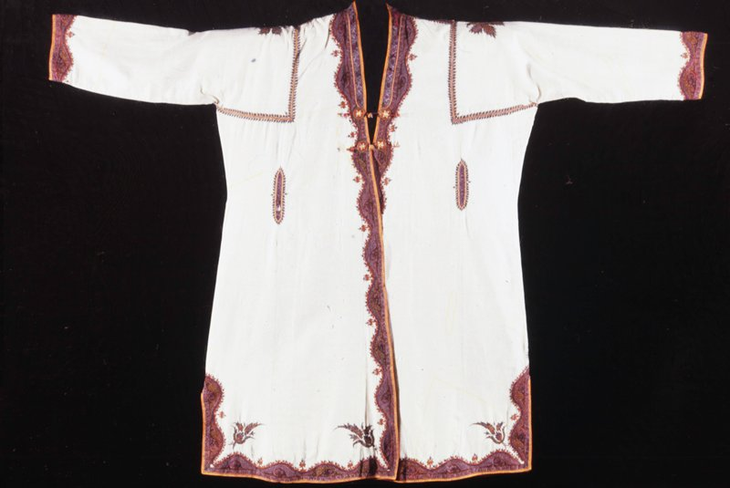 coat of fiine white wool, embroidered in colors; Slide Filed under India
