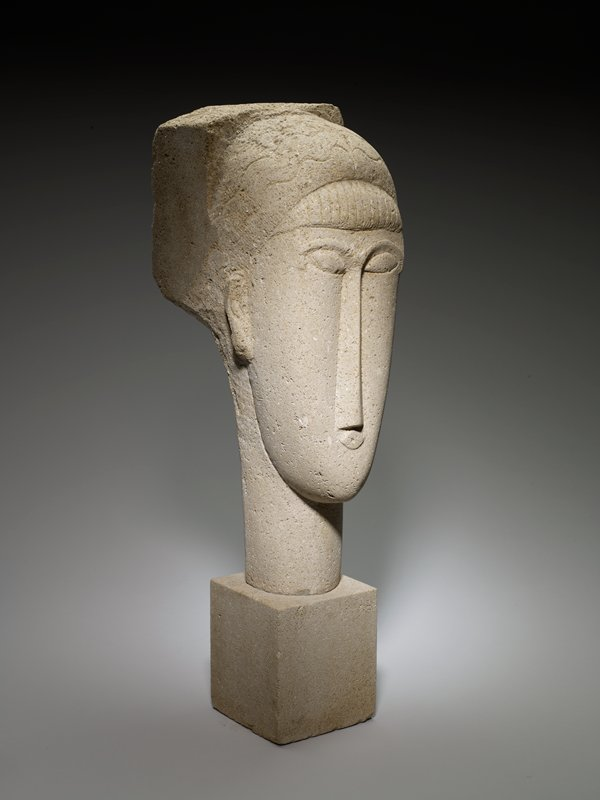 Head of a woman with a base, stone on a marble base, size; 26in.; base IRC floor area