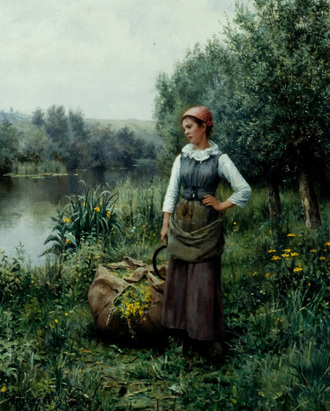 Genre. Female in a landscape standing by a stream, holding a scythe. Next to her is a large burlap sack of flowers and grasses.