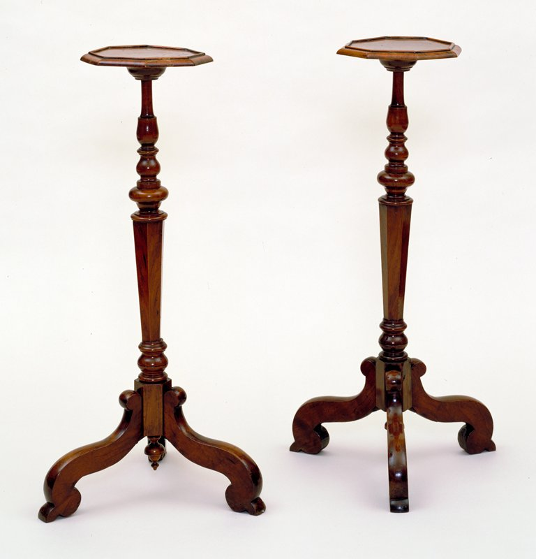 candlestands, pair of, octagonal with baluster shafts and tripod of single-scrolled legs
