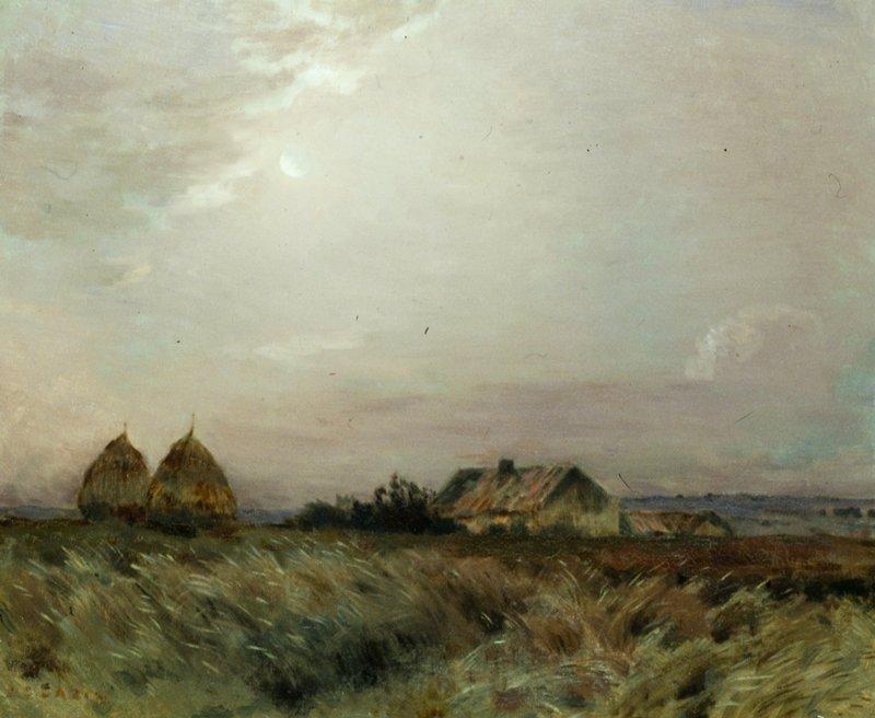 Landscape depicts the coastal village of Equiken near Boulogne - sur - Mer, in Cazin's native region of Picardie.