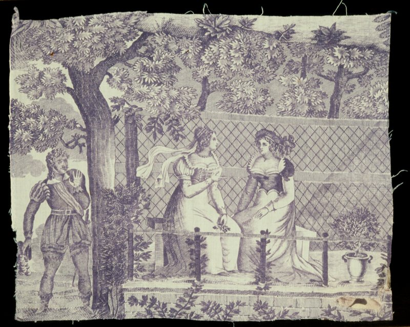 Toile, fragment of mauve medallion, showing another motif of the design on 40.23.20. A cavalier, standing under a spreading tree, eavesdrops on the conversation of two women sitting on a raised platform with a latticed wall at the back. Piece patched at lower right.