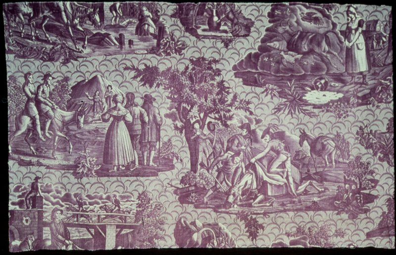 Toile, fragment printed in mauve, Fables of L Fontaine.