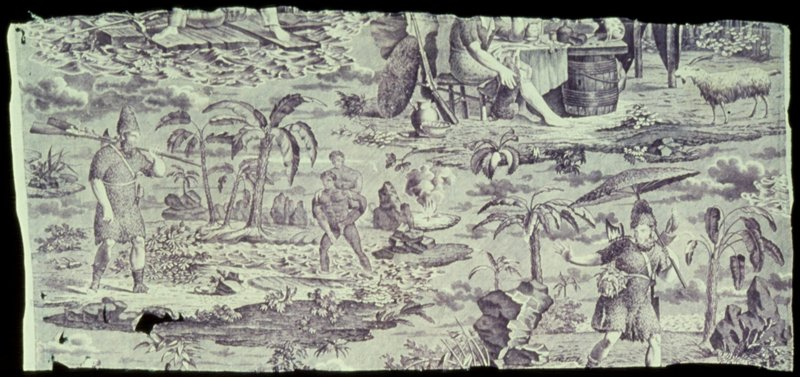 Toile, fragment, printed in mauve with Robinson Crusoe in design and showing various incidents in the hero's adventure. Holes in left side. Signed by F. Pieters