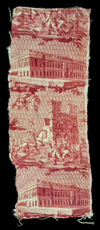 Toile, fragment, Monuments of Paris design, copperplate print in rose. Repeat pattern showing Louvre and Henri IV on horseback in front of Notre Dame. Fragment backed with linen and quilted in large lozenge pattern.