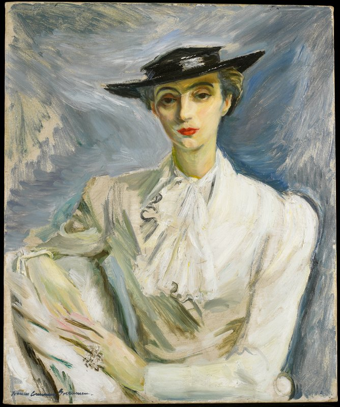 Genre. Portrait of a woman in a white blouse and black hat.