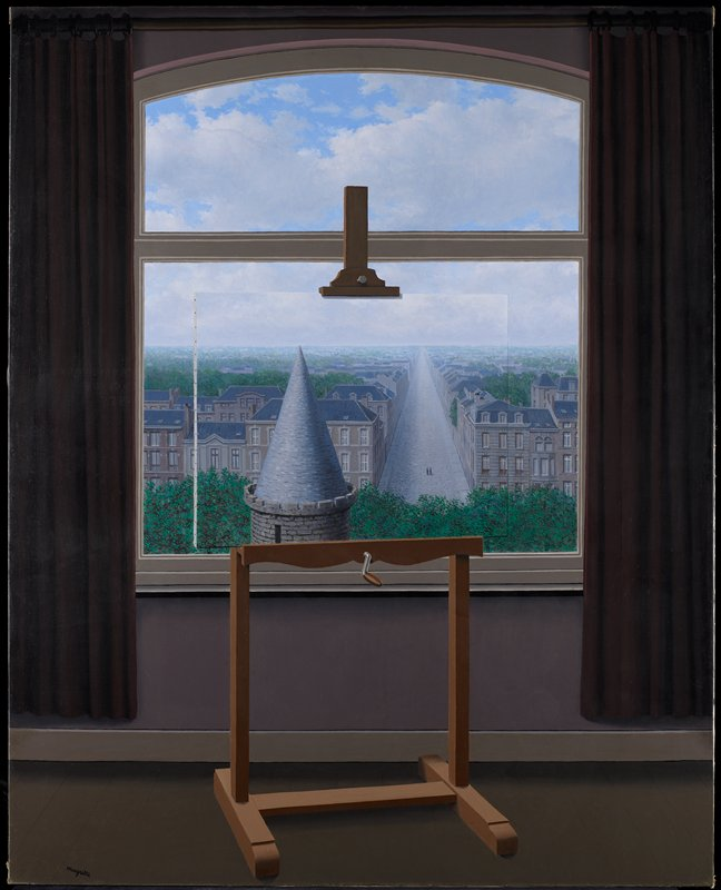 "City view in general; ""veduta""; trompe l'oeil. The interior of a room with a painting on an easel sitting in front of a window. Through the window a cityscape can be seen; the scene on the painted canvas seems to exactly replicate that section of the city which it blocks from view. Two triangular shapes dominate the center of the painting. One is the conical roof of a stone tower, while the other is a near-empty avenue shown in rapidly receding perspective. These two triangles are an oblique reference to Euclid, the father of geometry."