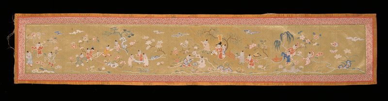 Panel with diapered ground embroidered in satin stitch. Design of figures in a landscape of branching trees and flowers. Figures and landscape in needlepoint in shades of blue, green, rust, yellow and pink. Background diaper in chartreuse yellow. Border of Greek key diaper in orange and white bound with a band of gold satin brocade piped with crimson satin. Lining of tan silk of dragon medallion pattern.