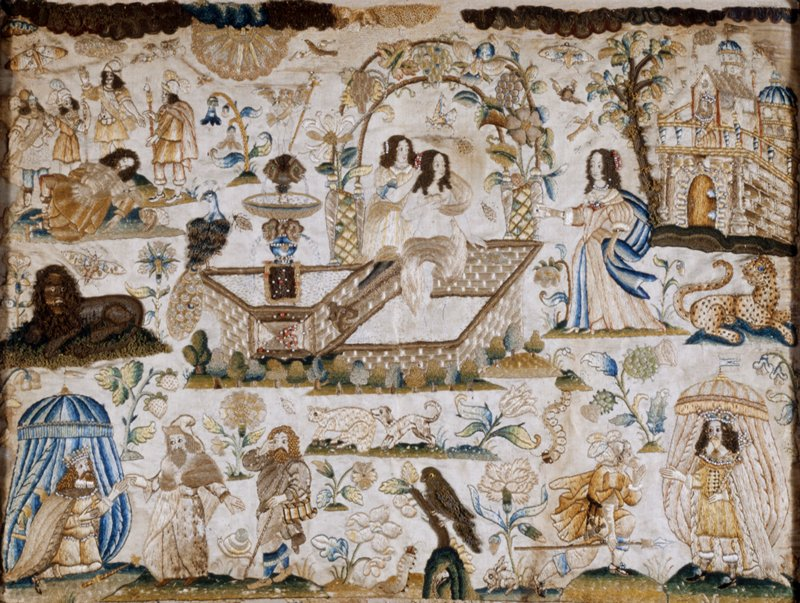 embroidered picture, stumpwork; the panel depicts various biblical scenes in a landscape of flowering shrubs and blossoms in which various birds and beasts are disposed; the upper central section portrays a woman, accompanied by two attendants, bathing in a fountain; at the upper right is a castle, and in the other corners various biblical scenes; most of the figures are portrayed in the court dress of Charles II's time; the work is executed in silk and metallic threads and in small pearl, coral, green and yellow beads; the main colors are blue, green, and various shades of tan; certain areas around the fountain were never finished, and the stamped pattern is still visible; the extreme upper right corner has been painted in but no other restoration has been attempted