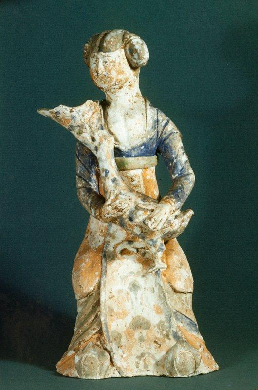 Figure, woman, holding bird