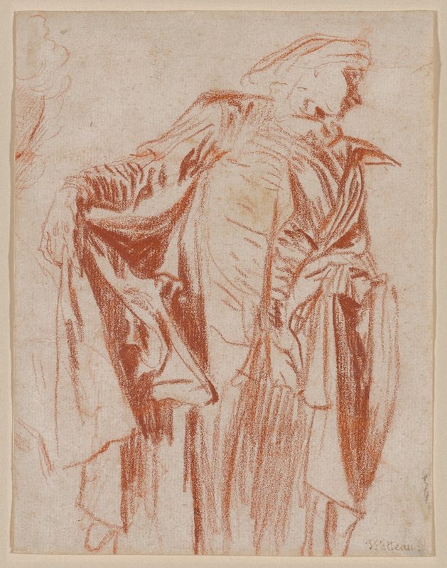 standing figure with head turned to his PL and holding cape open slightly