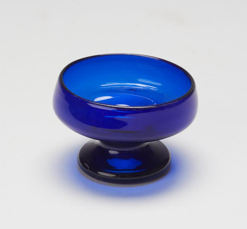 wine glass or salt cellar, blue glass