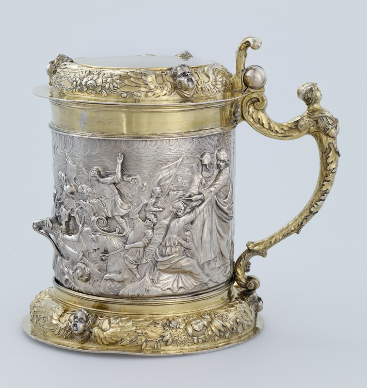 Tankard, Parcel gilt, wrought in extremely high relief, with the scene of the Crossing of the Red Sea