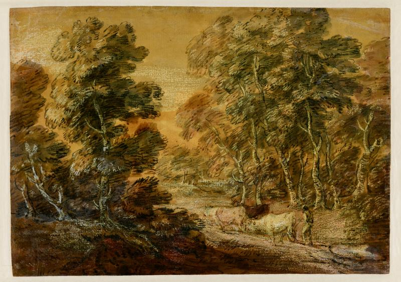 landscape with figure and three cows in LR