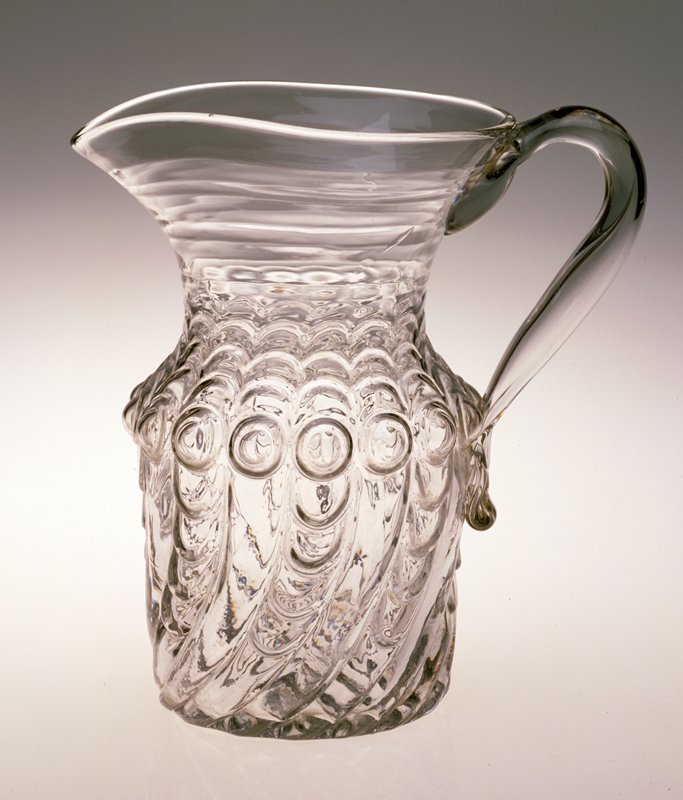 Water pitcher, blown and moulded glass