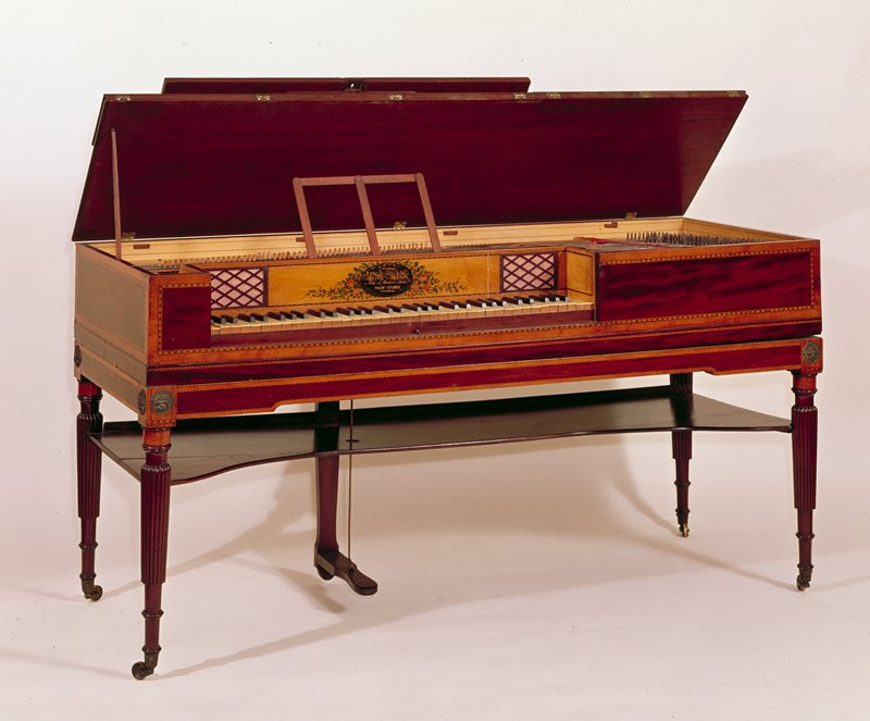 Piano, mahogany with casters, no key.