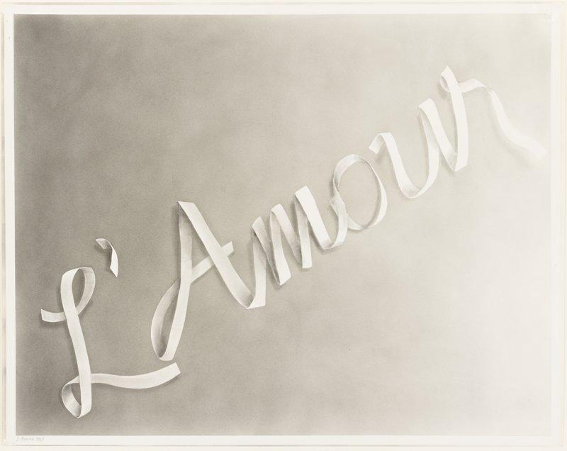 """L'Amour"" in light gray on darker gray ground"