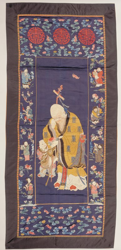 Needlepoint representing the god of Longevity and Eight Immortals. Former Classification: Textiles - Tapestry
