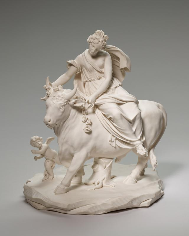 Giovanni Volpato, Europa and the Bull,Bisque, ceramic-porcelain, Italian, XVIII c. cat. card dims 10-1/2 x 9-1/4 x 7-1/4'; no photo. on card; neg. no. 14-265.1.4