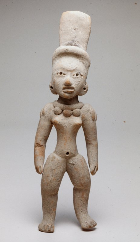 Female Figure wearing a tall feather-like headdress, broken and mended at legs and waist; burnished tan ceramic