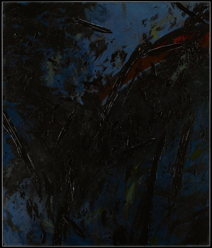 abstraction with gestural brushstrokes and areas of thick paint