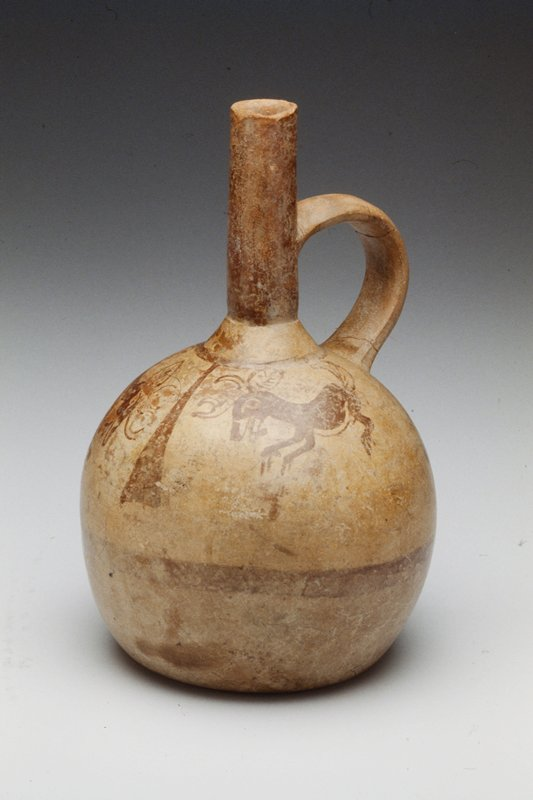 Pot with Spout and Handle, painted ceramic, Peruvian (Moche), 100 - 300AD cat. card dims H 8-3/4; single spout and handle; painted with murals.