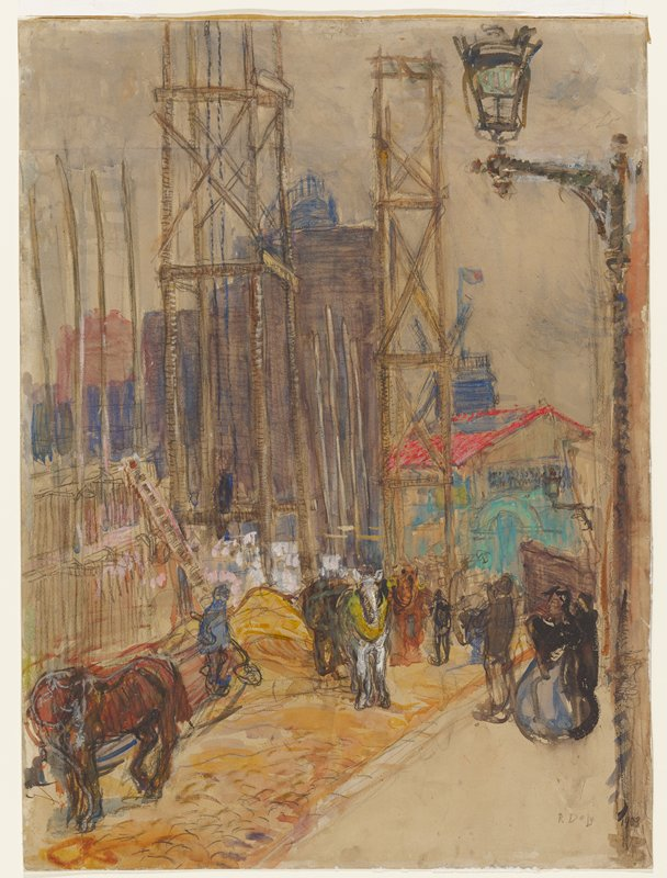 Streetlight at right, street with figures, scaffolding and buildings to left