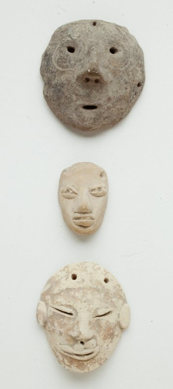 Miniature Mask, Earthenware,Mexico(Huastec), 250-750 A.D. One of three