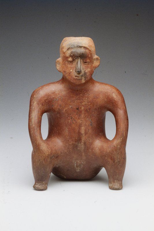 seated female figure holding hands to raised knees, red clay burnished red slip, Mexican (Colima) 200-700AD