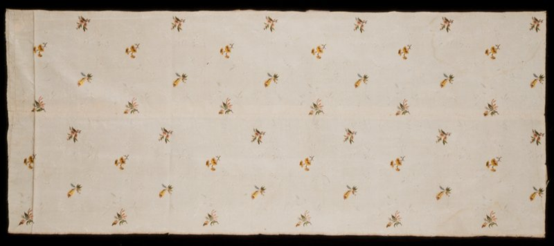 panel with center seam; multi-colored floral sprigs on cream background