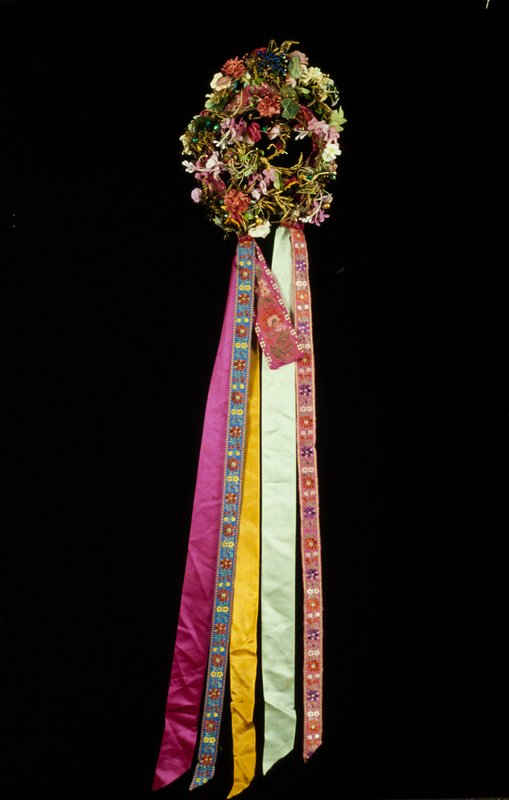 circlet garland of fabric flowers, embroidered ribbon streamers