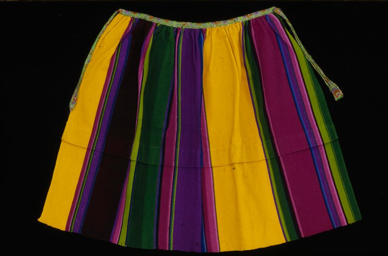 multicolored stripes; embroidered ribbon waistband and tie; horizontal tuck at center
