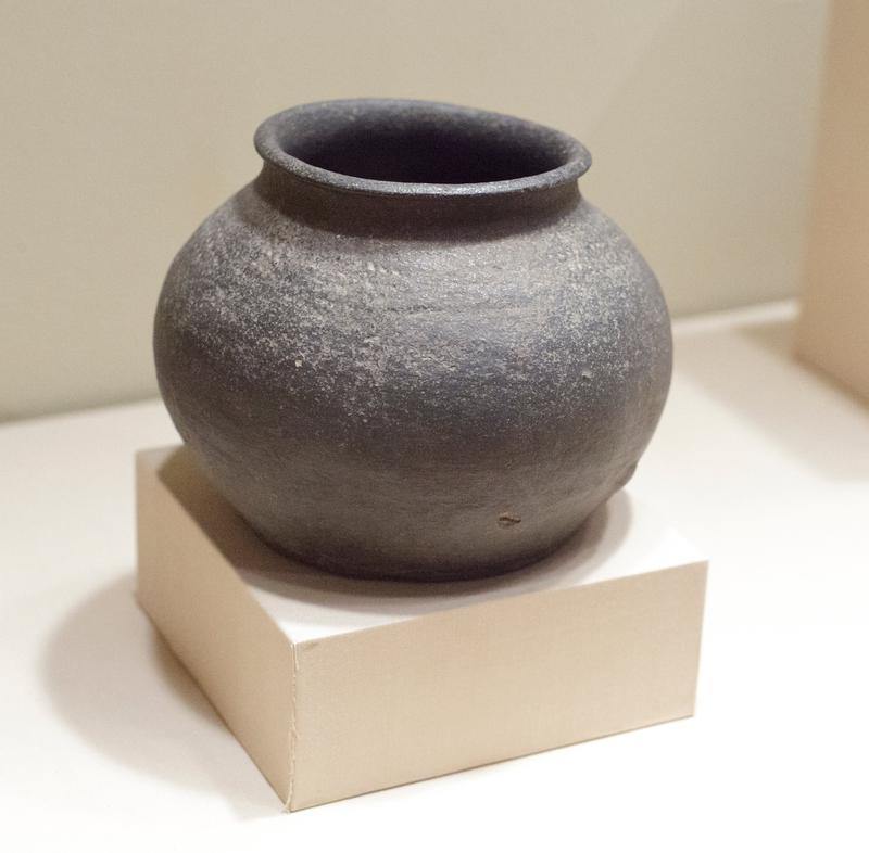 jar bulbous, undecorated body with flared mouth; grey stoneware