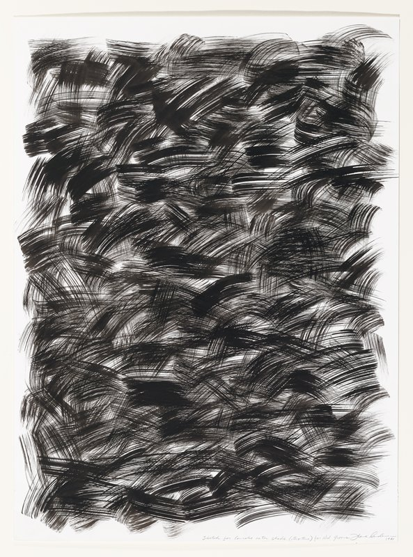 Repetitious, gestural brushstrokes against a plain white background