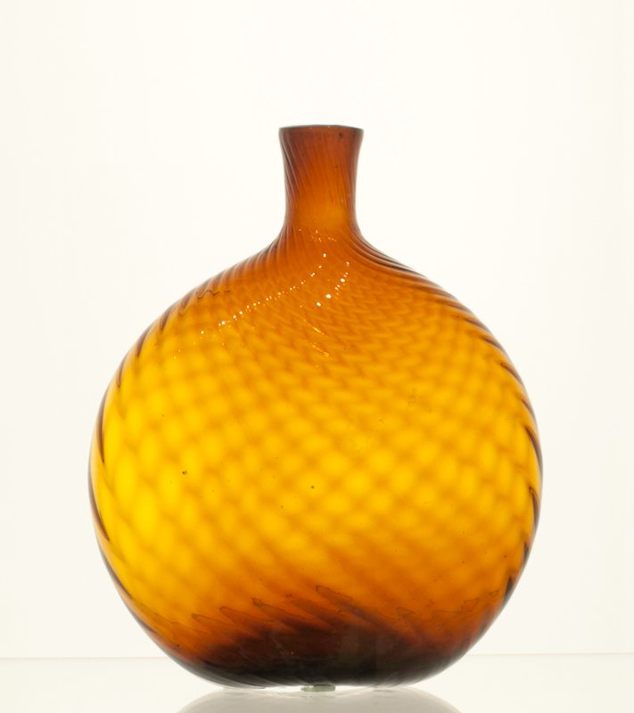 Grandfather's flask, 24 ribs, left hand swirl, golden amber; attributed to Zanesville; bottles and dishes from Ohio Manufacturers, 159 items in all, from the Walter Douglas Collection in Centerville, Ohio