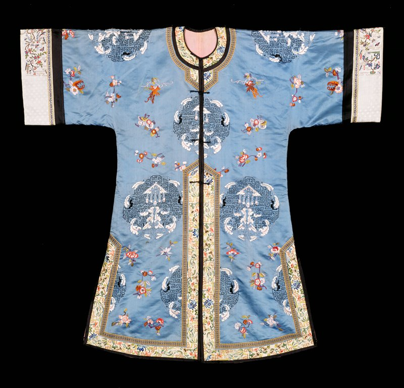 woman's special occasion robe, blue silk embroidered with floral motifs.