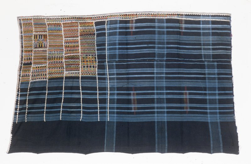 wrapper or skirt, cotton with applique border and multicolored embroidery, African (Mali-Fulani) stored on box; (Simmons); stored w/86.100.22,.30,.33,.35