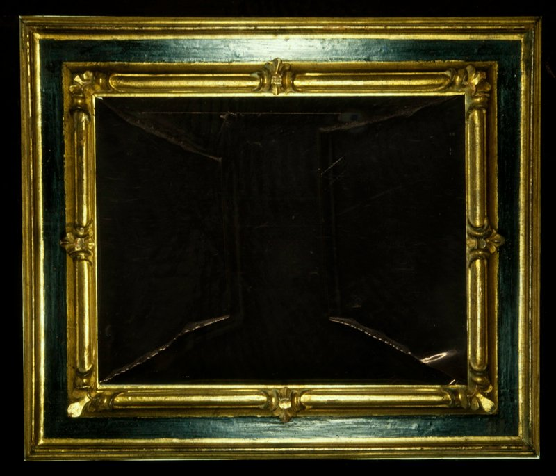 frame, Florentine, wood cassetta with stylized fleur-de-lis corners and centers in black and gold, Purchased to frame 47.41, Matisse, WHITE PLUMES; Removed from the painting at MOMA for Matisse Retrospective (possible infestation). Upon return it was decided not to place the painting back in this frame.