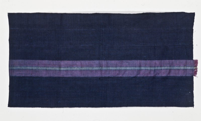panel, blue and white strip cloth with one section of purple; cotton, raw silk