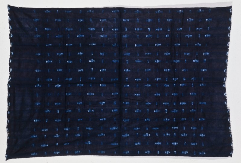panel, tie-dyed light blue and indigo cloth; cotton
