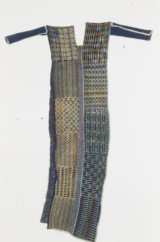 tunic, indigo-dyed strip cloth with embroidered and appliqued trim, cotton