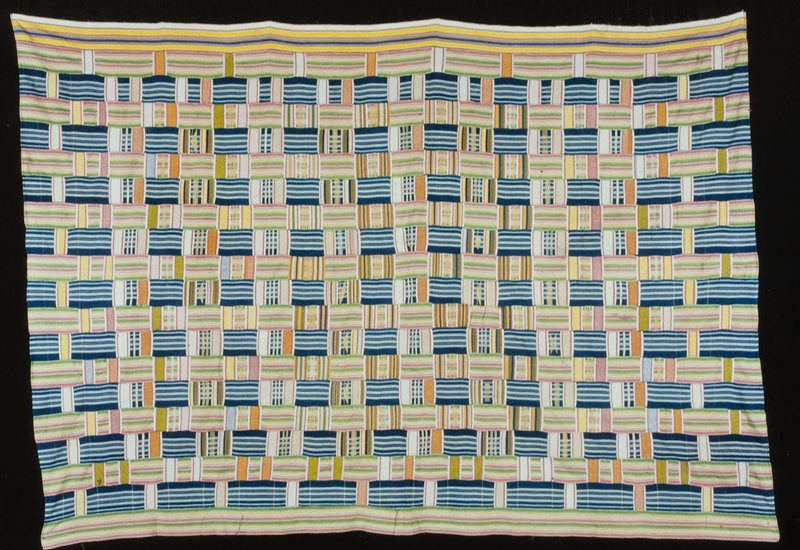 strip woven supplementary weft patterning; cotton