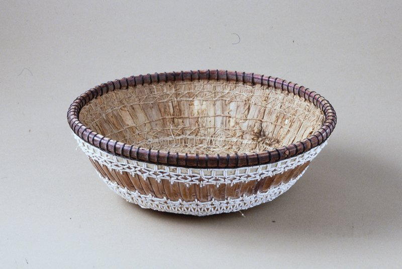 Temple Basket, fiber, stitching, beadwork, small beads and mirror in base