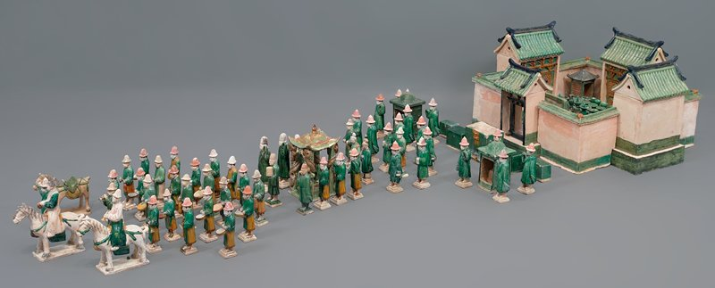 palanquin from wedding procession; three color glazed ceramic; one set of 33 pieces, including wedding party, palanquin, wedding chests, ceremonial food and wedding party