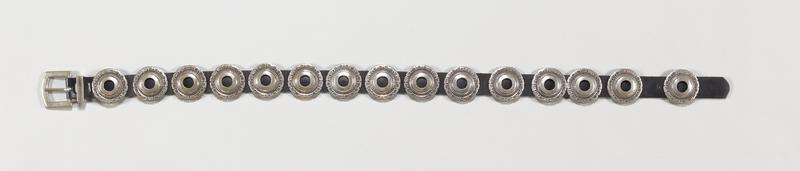 Leather belt with 15 conchas, cast buckle, made by Cippy Quintana J# 1161, No Cat# (not in catalogue)