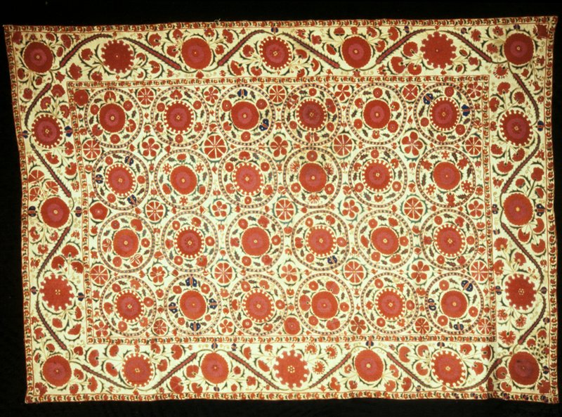 Embroidery linen wall hanging or table cover richly embroidered with geometric patterns in red and other colors. Bokhara type made also extenxively at Samorcand. Linen