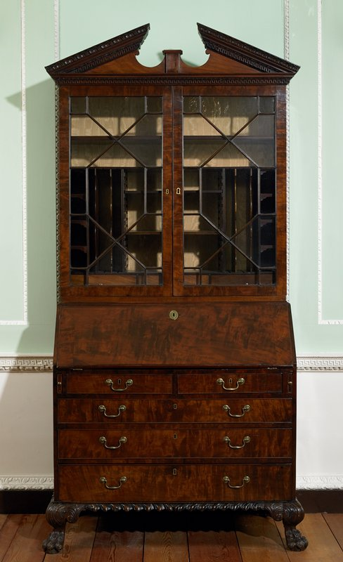 bureau bookcase, mahogany and secondary woods English, XVIIIc