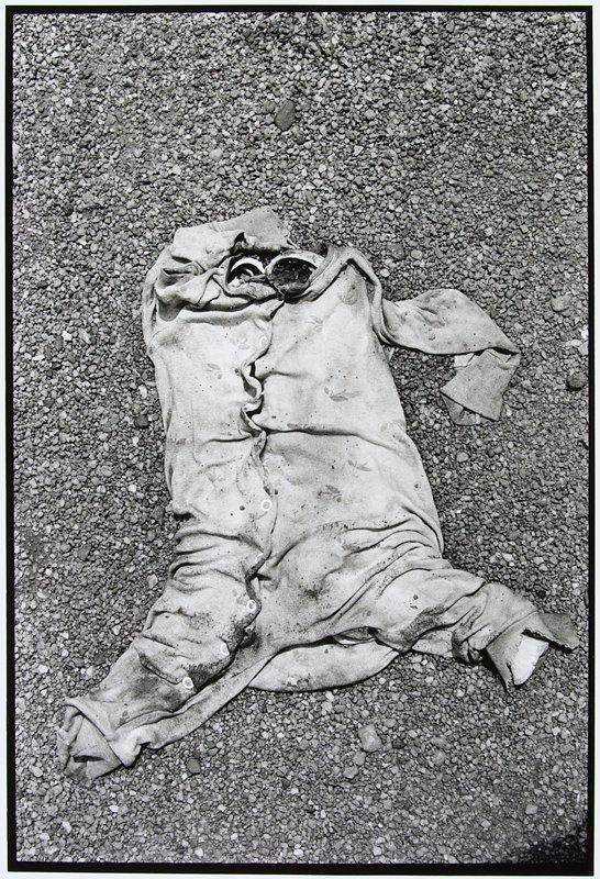 child's skeleton on ground in pajamas