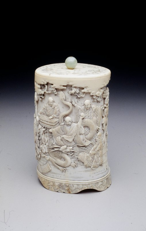 carved, lidded box; figural garden and elephant in high relief